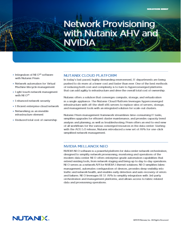 Network Provisioning with Nutanix AHV and NVIDIA - Solution Brief