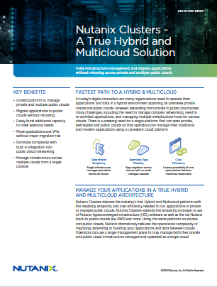Nutanix Clusters: A True Hybrid and Multicloud Solution